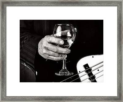 Guitar Player And A Glass Of Wine Framed Print by James David Phenicie