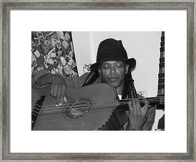 Guitar Player Black Hat Framed Print by Cleaster Cotton