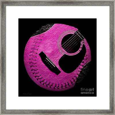 Guitar Raspberry Baseball Framed Print by Andee Design