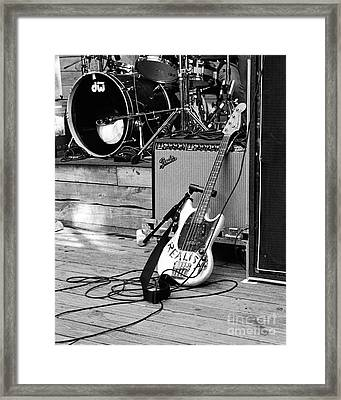 Guitar Realist On Stage Framed Print by Sonja Quintero