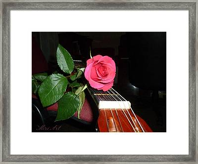 Guitar Rose Framed Print by Miriam Shaw