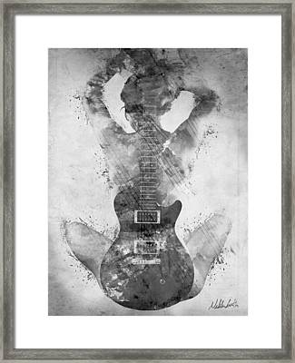 Guitar Siren In Black And White Framed Print