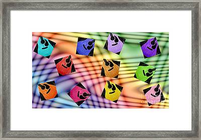 Guitar Storm - Rainbow Colors - Music - Abstract Framed Print by Andee Design