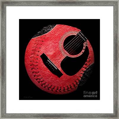 Guitar Strawberry Baseball Framed Print by Andee Design