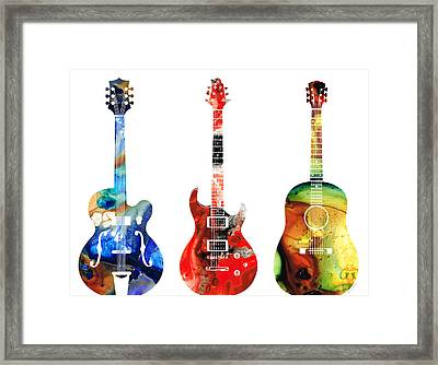 Guitar Threesome - Colorful Guitars By Sharon Cummings Framed Print