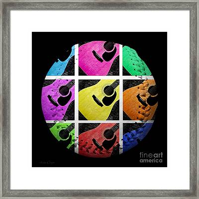 Guitar Tic Tac Toe White Baseball Square Framed Print by Andee Design