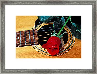 Guitar With Single Red Rose Framed Print