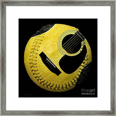 Guitar Yellow Baseball Square Framed Print by Andee Design
