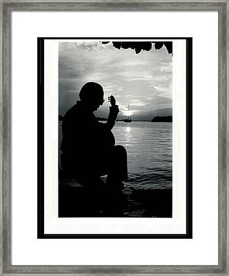 Guitarist By The Sea Framed Print by The Art of Alice Terrill