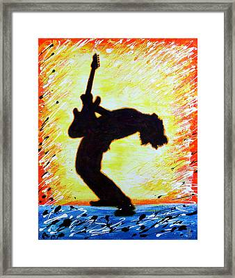 Framed Print featuring the painting Guitarist Rockin' Out Silhouette by Bob Baker