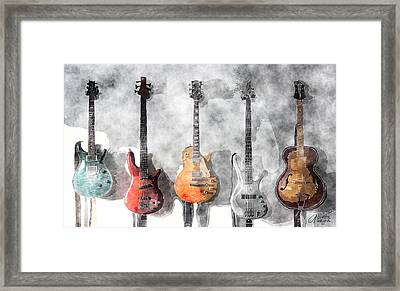 Guitars On The Wall Framed Print