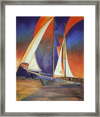 Gulet Under Sail Framed Print