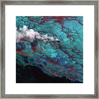 Gulf Of Mexico Oil Spill Framed Print by Digital Globe