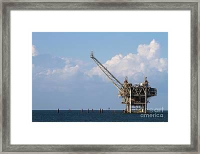 Gulf Oil Rig Framed Print by Steven Frame