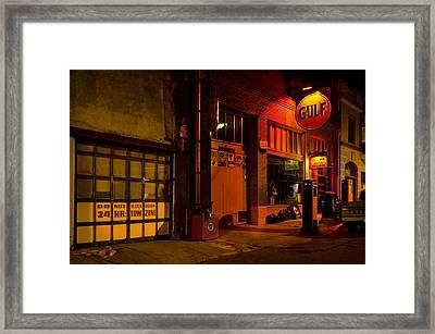 Gulf Oil Vintage Night Time Horizontal Framed Print