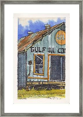 Framed Print featuring the mixed media Gulf Oil Warehouse 2 by Tim Oliver