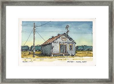 Framed Print featuring the mixed media Gulf Oil Warehouse by Tim Oliver