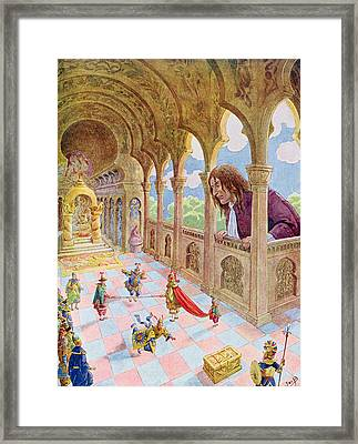 Gulliver At Lilliput Framed Print by Jacques Onfray de Breville