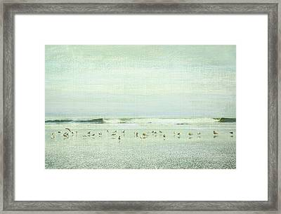 Gulls And Waves Green Framed Print by Theresa Tahara
