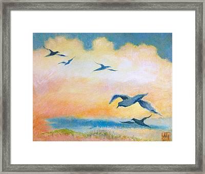 Gulls At Sunset Framed Print by Julia Miller