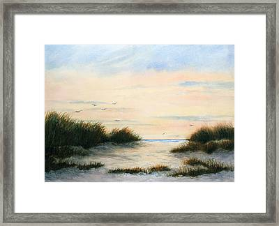 Gulls Gathering Framed Print by Vikki Bouffard