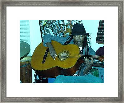 Gully Guitar And Black Hat  Framed Print by Cleaster Cotton