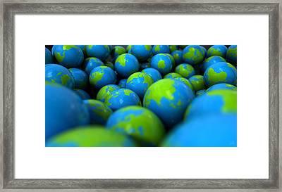 Gum Ball Earth Globes Framed Print
