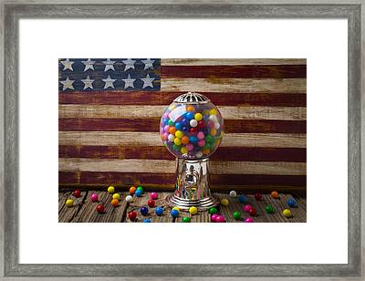 Gumball Machine And Old Wooden Flag Framed Print