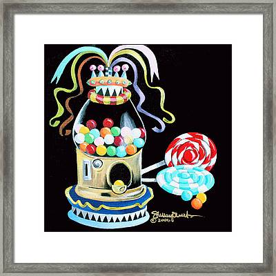 Gumball Machine And The Lollipops Framed Print