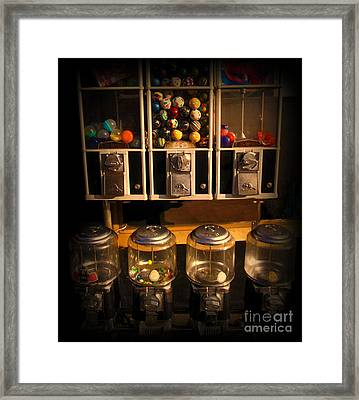 Gumball Memories - Row Of Antique Vintage Vending Machines - Iconic New York City Framed Print by Miriam Danar