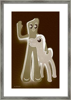 Gumby And Pokey B F F In Negative Sepia Framed Print by Rob Hans