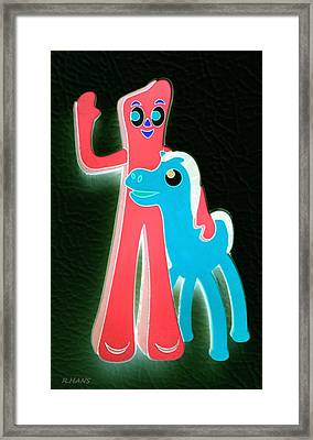 Gumby And Pokey B F F Negative Framed Print by Rob Hans