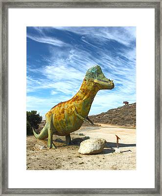 Gumby-saurus Framed Print by Gregory Dyer
