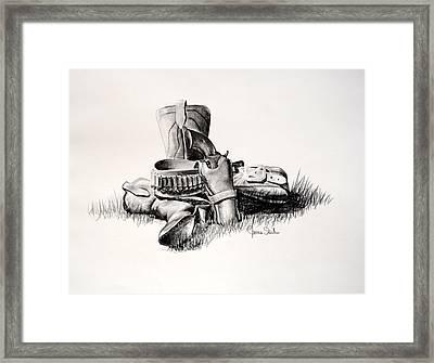 Gun And Holster Framed Print by James Skiles