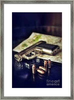 Gun With Bullets And Map Framed Print by Jill Battaglia
