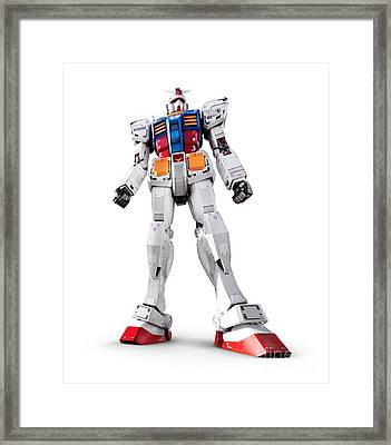 Gundam Rx-78-2 Statue Isolated On White Framed Print