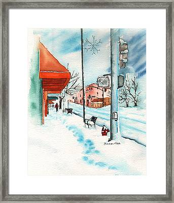 Gurley Street Prescott Arizona On A Cold Winters Day Western Town Framed Print