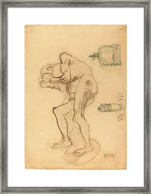 Gustav Klimt, Study Of A Nude Old Woman Clenching Her Fists Framed Print by Litz Collection
