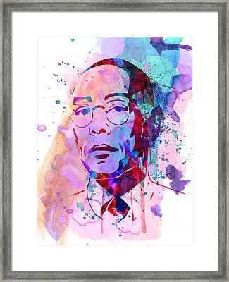 Gustavo Fring Watercolor Framed Print by Naxart Studio