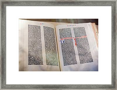 Gutenberg Bible Framed Print by Jim West