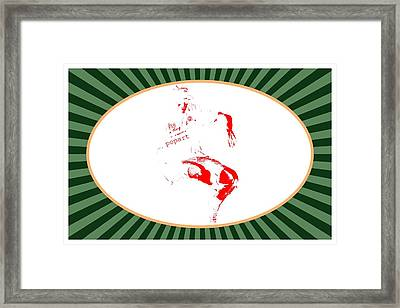 Guy Floating On Green  Background  Framed Print
