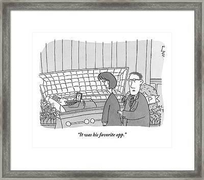 Guy Is In Casket Holding An Ipad Framed Print by Peter C. Vey