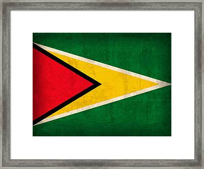 Guyana Flag Vintage Distressed Finish Framed Print by Design Turnpike