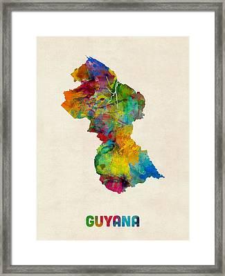 Guyana Watercolor Map Framed Print