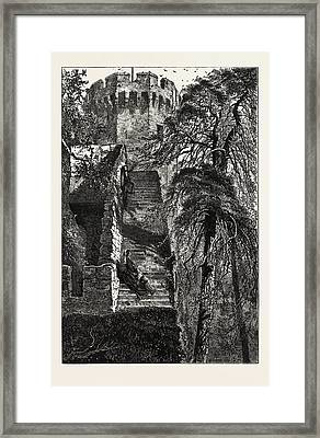 Guys Tower And The Walls Of Warwick Castle Framed Print by English School