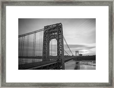 Gw Bridge Winter Sunrise Framed Print