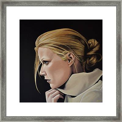 Gwyneth Paltrow Painting Framed Print by Paul Meijering