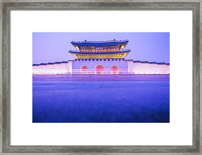 Gyeongbokgung Palace In Seoul South Korea Framed Print by Nattee Chalermtiragool