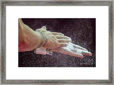 Gymnast Applying Rosin To Hands Framed Print by Ria Novosti