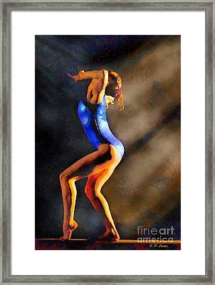 Gymnast In The Light Framed Print by Elizabeth Coats